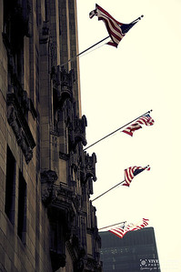 Flags on Chicago Tribune Building