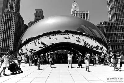 """Cloud Gate"" sculpture (by British artist - Anish Kapoor) . Famous By The Name ""The Bean"""