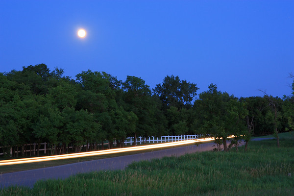 Light Trail in Moonlight