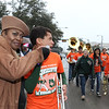 KKVI radio host interviewing trumpet player from Naaman Forest Band marching in Garland's annual NAACP MLK parade.
