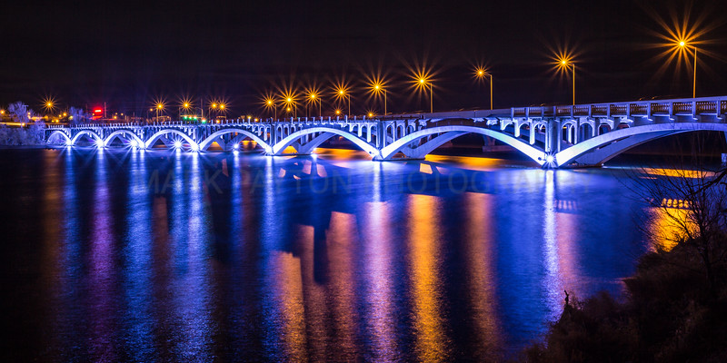 The Tenth Street Bridge lights reflecting on the Missouri river in Great Falls, Montana.<br /> <br /> Canon 5D MK III<br /> Canon EF 17-40mm f/4L USM<br /> November 30, 2012<br /> Great Falls, Montana