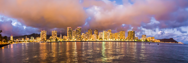 Waikiki Golden Hour Panoramic. Oahu, Hawaii 2012  Canon 5D MK III Canon EF 15mm f/2.8 Fish-eye