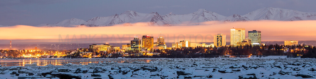 "Anchorage Skyline in late January lit with nearly a completely full moon. January 2013   Recommended print size 12x36 Metallic (select ""none"" in the cropping option) this will yield a 9x36 print with a 1-1/2"" white border on the top and bottom that can be trimmed when framing print."