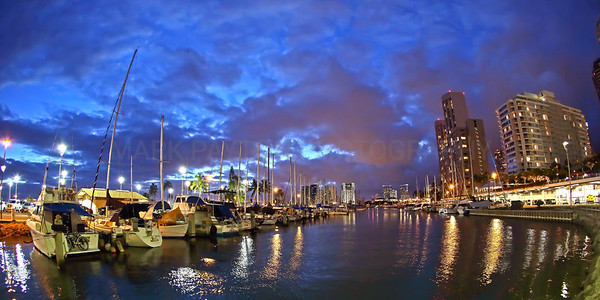 Ala Wai Harbor at Dusk      Image of Ala Wai Harbor taken just after sunset in Waikiki- Oahu, Hawaii. Shot with the Canon 5D MK III. Recommended print sizes 12x24 panoramic, and 8x16 panoramic.