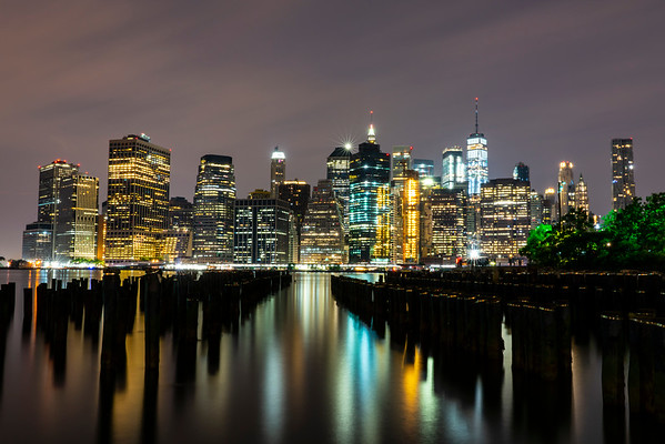 Lower Manhattan as seen from Brooklyn piers.