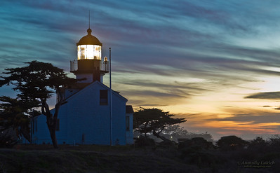 Point Pinos Lighthouse was built in 1855 to guide ships on the Pacific  coast of California. It is the oldest continuously operating lighthouse on the West Coast of the United States  and even the lens is original.