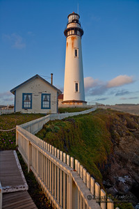 Pigeon Point Lighthouse, Pacific Ocean, California, U.S.A.  115-foot Pigeon Point Lighthouse, one of the tallest lighthouses in America, has been guiding mariners since 1872.