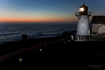 Lighthouse after sunset. Point Montara Lighthouse, Pacific Ocean, California, U.S.A.