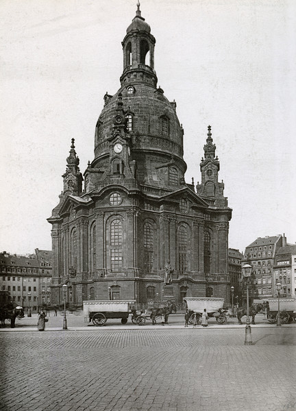 ca. 1860-1889, Dresden, Germany --- Exterior of Church of Our Lady in Dresden. A cross in the pavement near here marks the spot where Crell, the Calvinistic Chancellor, was executed in 1601. --- Image by © Bettmann/Corbis