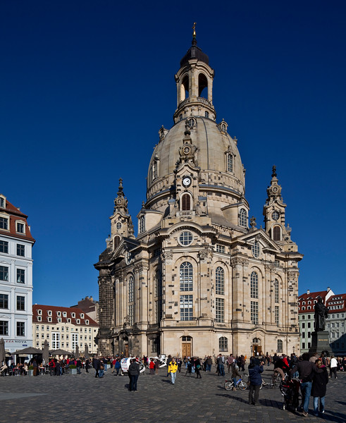 Dresden Frauenkiche (church of our lady), by George Bahr 1726-43, rebuilt 1994-96, Dresden, Saxony-Anhalt, Germany