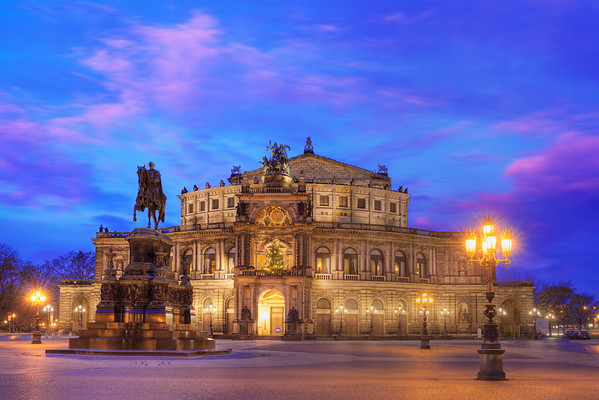 1838-1841, Dresden, Germany --- Semper Opera House at Dusk --- Image by © Paul Hardy/Corbis