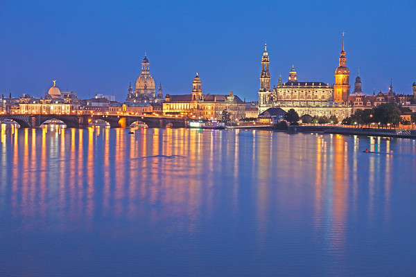 Dresden, Germany --- Dresden skyline at night --- Image by © P. Steeger/Corbis