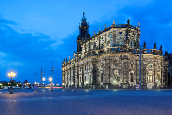 Dresden, Germany --- Magic hour, dusk, at Hofkirche, Catholic Church of the Royal Court of Saxony, Kathedrale Sanctissimae Trinitatis, Cathedral of the Holy Trinity, Dresden, Saxony, Germany, Europe --- Image by © Stefan Arendt/imageBROKER/Corbis