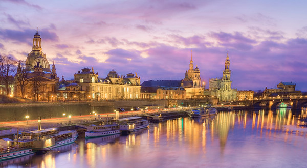 Buildings along the Elbe River, Dresden --- Image by © Paul Hardy/Corbis