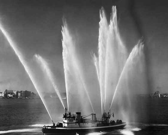 Fireboat spraying water, New York City, New York, USA --- Image by © SuperStock/Corbis