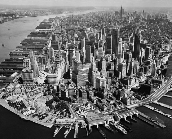 Aerial view of buildings in a city, New York City, New York State, USA --- Image by © SuperStock/Corbis