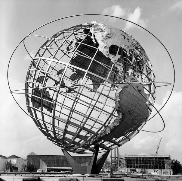 Low angle view of a sculpture of a globe, Unisphere, 1964 New York World's Fair, Queens, New York City, New York, USA --- Image by © SuperStock/Corbis