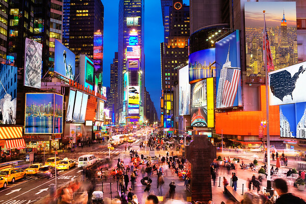 ca. November 2009 --- Times Square at dusk --- Image by © Paul Hardy/Corbis