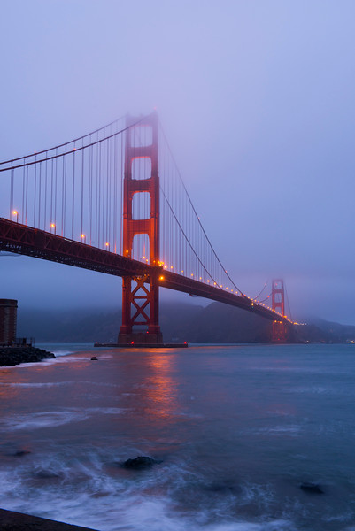 26 Sep 2012, San Francisco, California, USA --- View of San Francisco's iconic Golden Gate Bridge before dawn near Fort Point. --- Image by © Krista Rossow/National Geographic Creative/Corbis