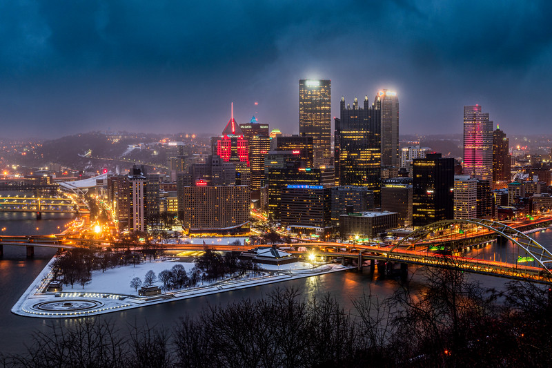 Pittsburgh Cityscape in Winter