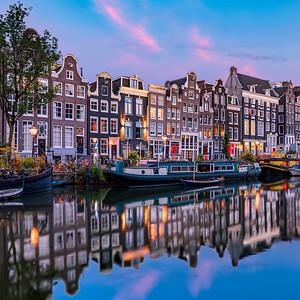 Amsterdam Singel Street Sunset