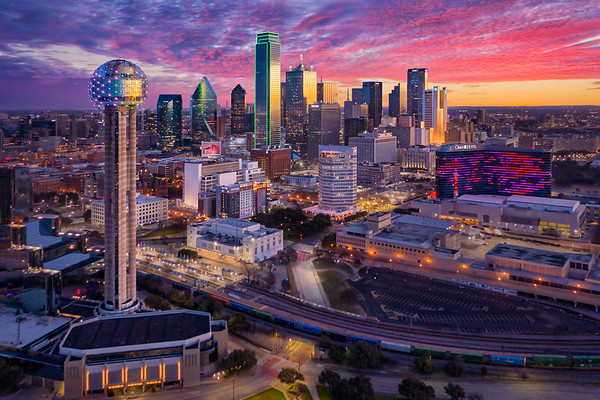 Dallas Skyline Sunrise Aerial