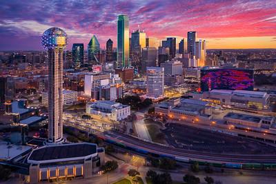 Dallas Skyline Sunrise Aerial