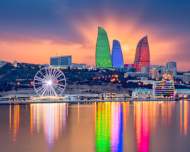 Baku Skyline Sunset