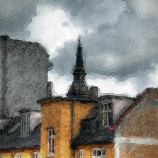 Back Yard Tower, Water Color.<br /> Tårnet på Christians Kirke set fra Chstistians Havns vold.<br /> Copenhagen church tower.