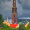 Golden Impression.<br /> Vor Frelsers Kirke set fra Stadsgraven, Christianshavn, København, Danmark.<br /> Photo painted with digital smeary oil brush in Corel Painter.