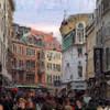 Vimmelskaftet<br /> set fra Nygade, Strøget, København, Danmark.<br /> Digitalt manipuleret med impressionist soft pastel i Corel Paint.