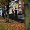 Iron Festoons.<br /> Kirkegården ved tysk reformerte Kirke set mod Rosenborggade, København, Danmark.<br /> Digitalt manipuleret med chalk brush i Corel Paint.