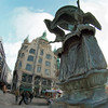 Lift Off.<br /> Storkespringvandet det mod Cafe Norden, Amagertorv, Strøget, København, Danmark.<br /> Digitalt manipuleret med pen brush i Corel Painter.