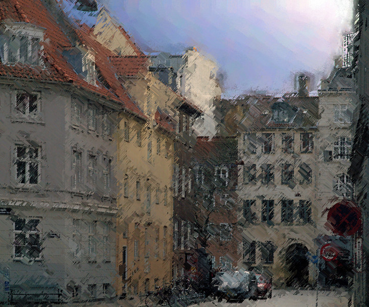 Compressed Houses.<br /> Gåsegade set mod Vandkunsten, København, Danmark.<br /> Manipuleret med smooth edge caligraphy brush i Corel Paint.