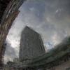 Raining Building.<br /> SAS hotellet set fra Hammerichsgade, København, Danmark.<br /> Digitalt manipuleret med chalk brush og pencil i Corel Paint.