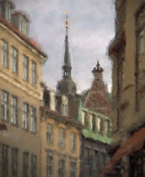 Top Range.<br /> Spiret på Helligånds Kirken set fra Vimmelskaftet, Strøget, København.<br /> Digitalt manipuleret med impressionist sponge brush i Corel Paint.