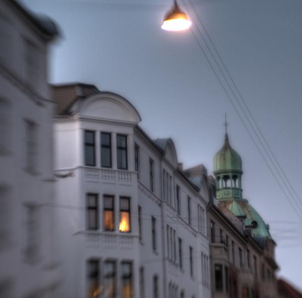 Lamp and Spire.<br /> Classensgade, København, Danmark.