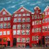 Fire Houses.<br /> De ældste huse på Gråbrødre Torv, København, Danmark.<br /> Digitalt manipuleret med square grain brush i Corel Painter.
