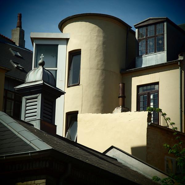 Roof Combo.<br /> Kviste og karnapper set fra Ganisonskirke, Sankt Annæ Plads, København, Danmark.