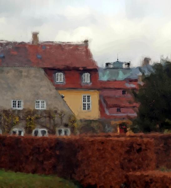 Hedges and Roof.<br /> Huse ved Rosenborg set fra bastionen, København, Danmark.<br /> Digitalt manipuleret med chalk brush i Corel Paint.