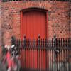 Double Gate.<br /> Sideindgang til Jesu Hjerte Kirke, Stefansgade, Vesterbro, København, Danmark.<br /> Fotograferet med en Lens Baby.