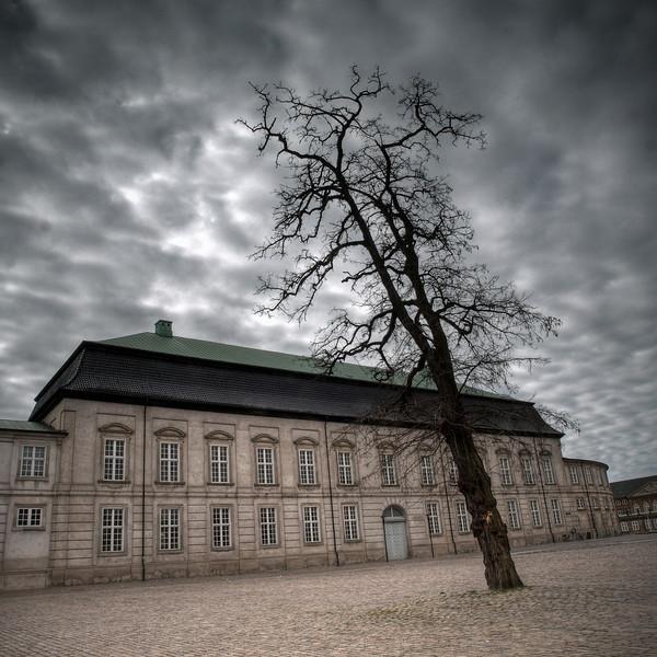 Ridehuset,<br /> Christiansborg, set fra Vindebrogade, København, Danmark.<br /> The royal riding house.