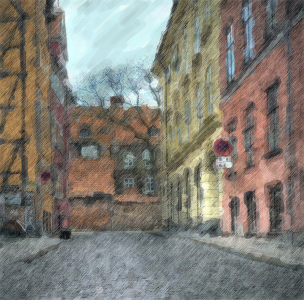 Paved and walled, water color.<br /> Niels Hemmingsens Gade mod Skindergade.<br /> Street scene in old Copenhagen.