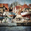 Harbour Mess.<br /> Dragør seen from the harbour.<br /> Photo painted with digital wet chalk  brush in  by Corel Paint + rusty plate texture.
