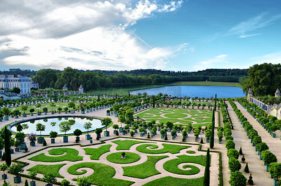 The gardens at the Palace of Versailles.