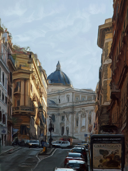 Up Hill.<br /> Santa Maria Maggiore in the background.<br /> Photo painted with Corel Painter.
