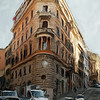 Flat Iron in Rome.<br /> Photo painted with digital smeary oil brush in Corel Painter.