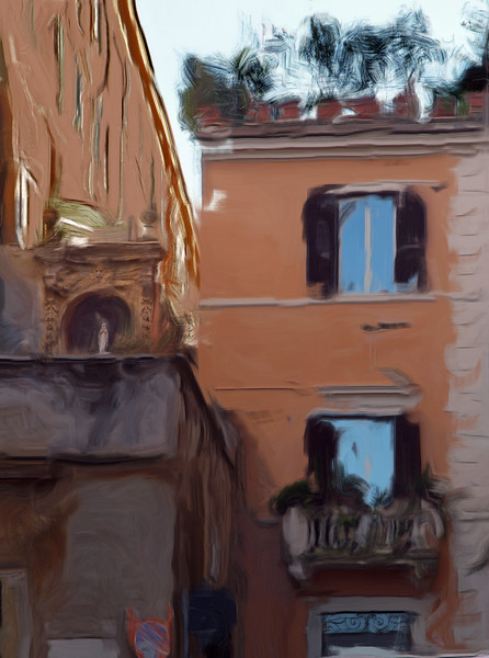 Mary´s Balcony.<br /> Photo painted with digital smeary oil brush in Corel Painter.