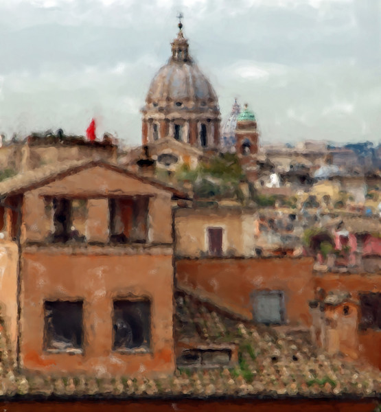 Roof Scout.<br /> View from the top of the Spanish Steps over Rome. The dome of St. Peter can be seen in the background.<br /> Photo painted with digital chalk brush in wet watercolor in Corel Painter.