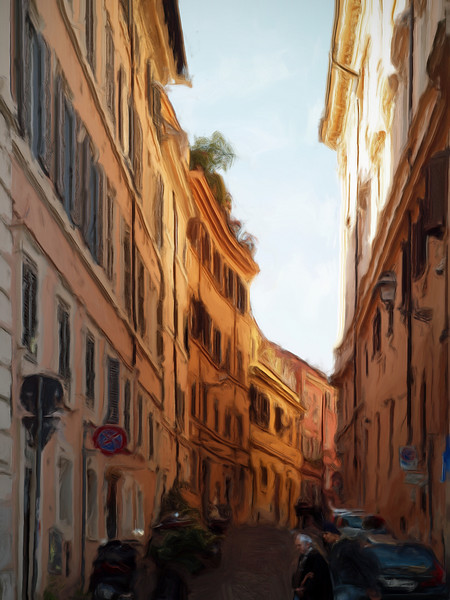 Yellow Street.<br /> Photo painted with digital smeary oil brush in Corel Painter.
